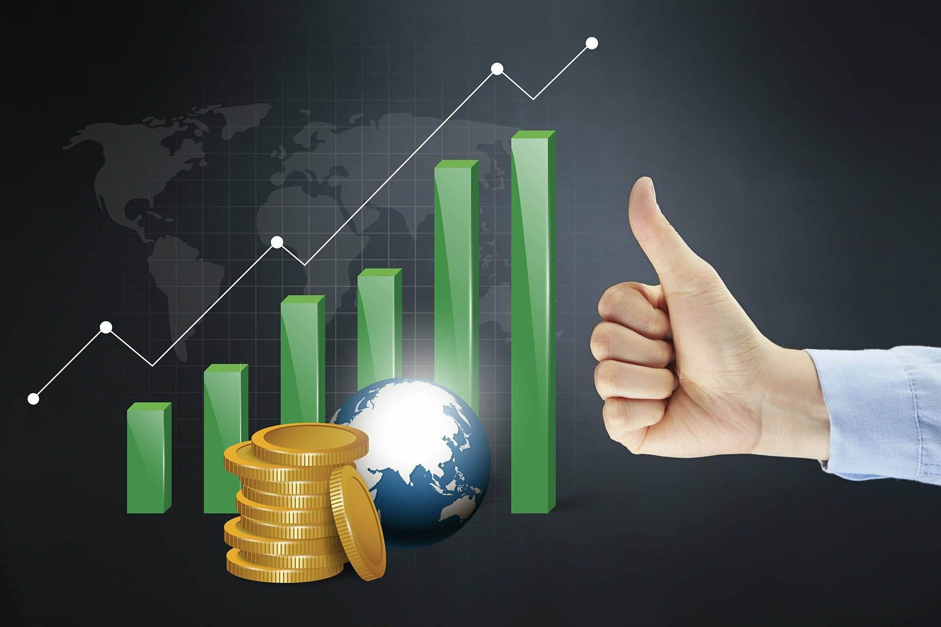 Image of a column graph, coins, money and the globe showing Australia with a man's hand with a thumbs up